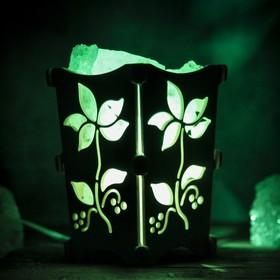 Соляной светильник 'Цветочек', корзина, 10 х 10 х 15 см, 2 кг, белый, деревянный декор Ош