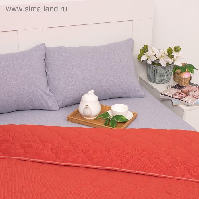 Постельное бельё Brooklin Bed 2 сп. цвет оранж 180х200 рез. (серый), одеяло 170х220, 50х70 2шт, трик Терри, хл100%