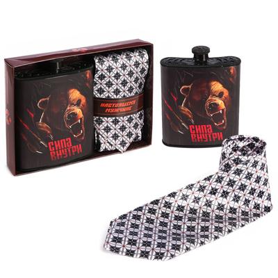 """Подарочный набор: галстук и фляга """"Настоящему мужчине"""""""