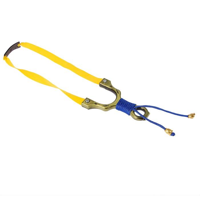 Рогатка, ленточный жгут, рукоять металл в синей оплетке, 14*21 см