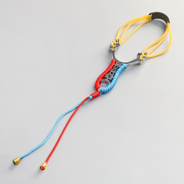 Рогатка, тройной жгут, рукоять металл в оплетке, 8*14 см