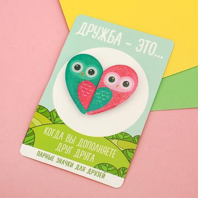 """Парные значки на открытке """"Совы"""""""