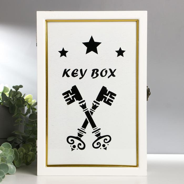 """Ключница дерево 6 крючков """"Ключи"""" белая 30х20х5,5 см"""