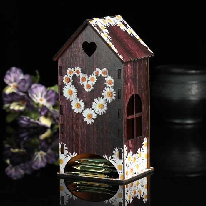 Чайный домик «Сердце из ромашек», 9,3×9,3×20 см
