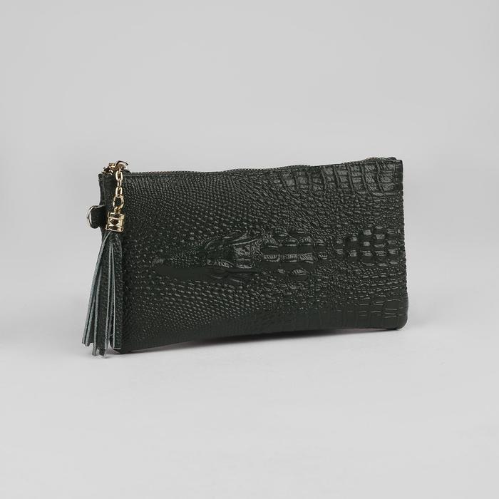 Клатч женский, 2 отдела, наружный карман, с ручкой, цвет зелёный - фото 784246942