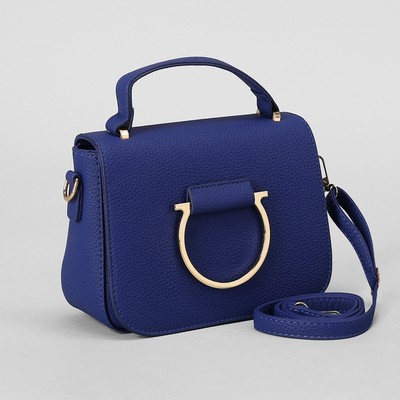 Women's bag, office with partition with zipper, long strap, color blue