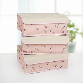 A set of organizers for linen with a cover 32×24×12 cm Cherry 3 piece, color pink