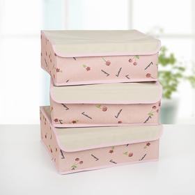 Набор органайзеров для белья с крышкой «Вишни», 32×24×12 см, 3 шт, цвет розовый