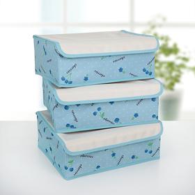 Набор органайзеров для белья с крышкой «Вишни», 32×24×12 см, 3 шт, цвет голубой