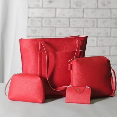 Сумка женская на молнии 4 в 1, наружный карман, косметичка, кредитница, цвет красный