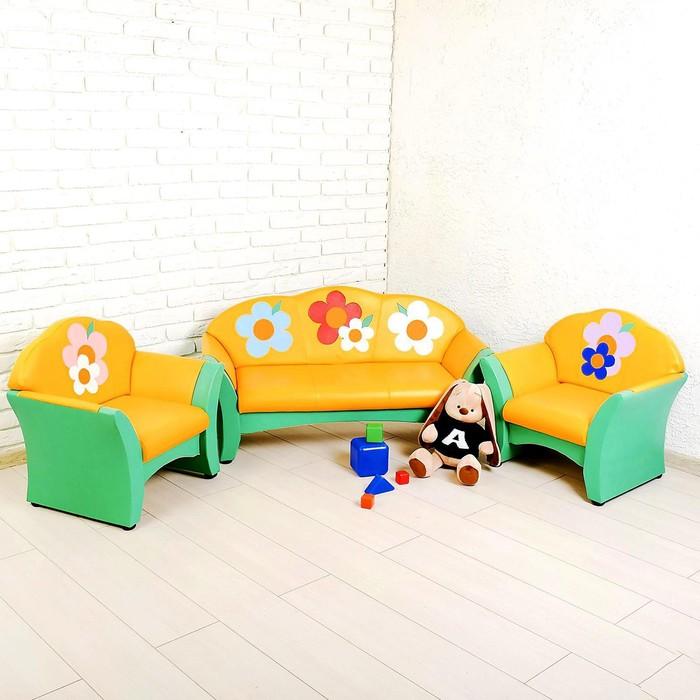 """Комплект мягкой мебели """"Карина"""", зелёно-жёлтый, с цветами"""