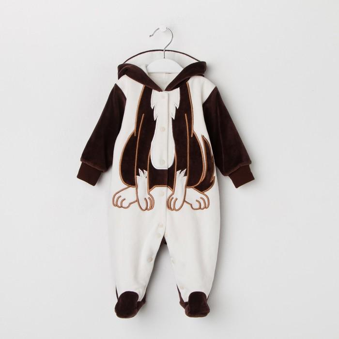 Комбинезон детский СОБАКА, рост 62 см, цвет шоколад 520-61В-20/62_М