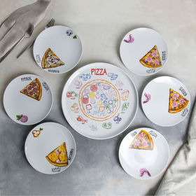 """Набор блюд """"Пицца"""", 7 предметов: 1 шт 30 см, 6 шт 20 см, рисунок МИКС"""