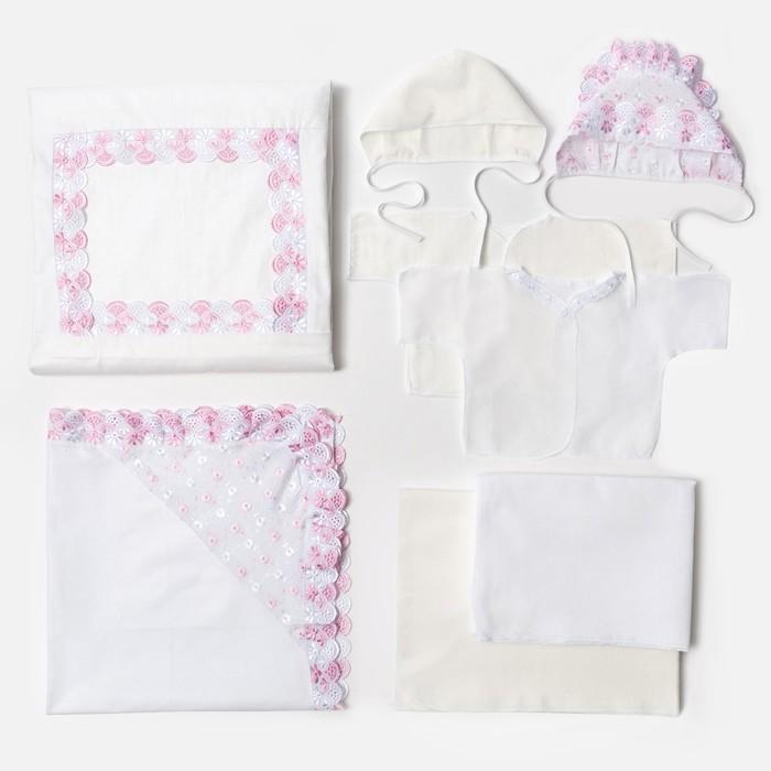 Комплект для новорожденного 8 предметов, рост 56 см, цвет белый/розовый К64_М