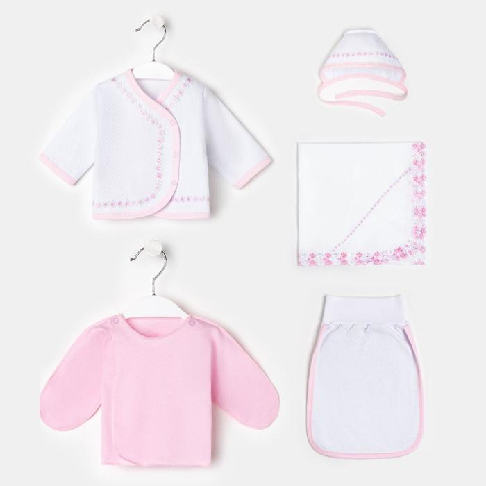 Комплект для новорожденного 5 предметов К-68_М, розовый, рост 56-62 см