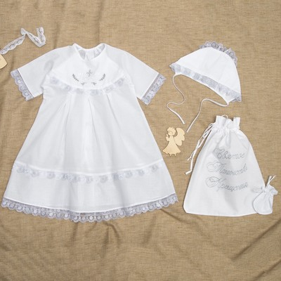 Комплект крестильный для девочки 4 предмета, рост 62 см, цвет белый К02-4_М