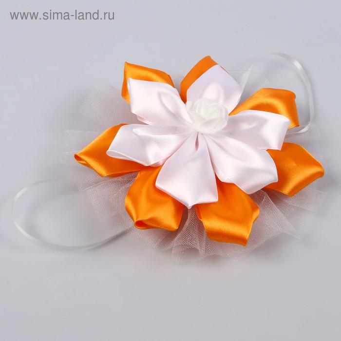"""Банты на авто с цветком """"Канзаши"""" 2шт оранжевые"""