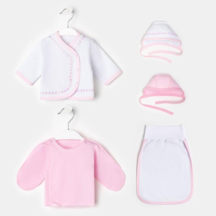 Комплект для новорожденного 5 предметов К68/2_М, белый/розовый, рост 56-62 см