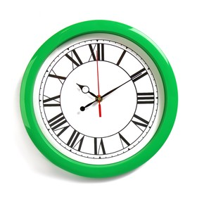 Часы настенные круглые 'Классика', зелёный обод, 28х28 см Ош