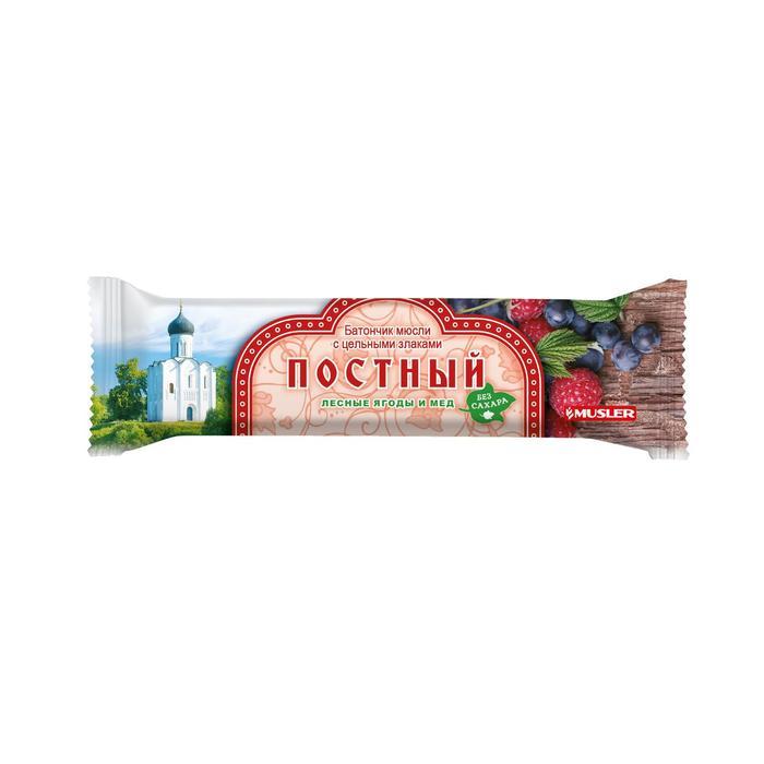 Батончик мюсли с цельными злаками ПОСТНЫЙ лесные ягоды и мёд - фото 15733