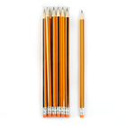 Карандаш чернографитный с ластиком, HB, корпус шестигранный, «Полоски», чёрно-оранжевый