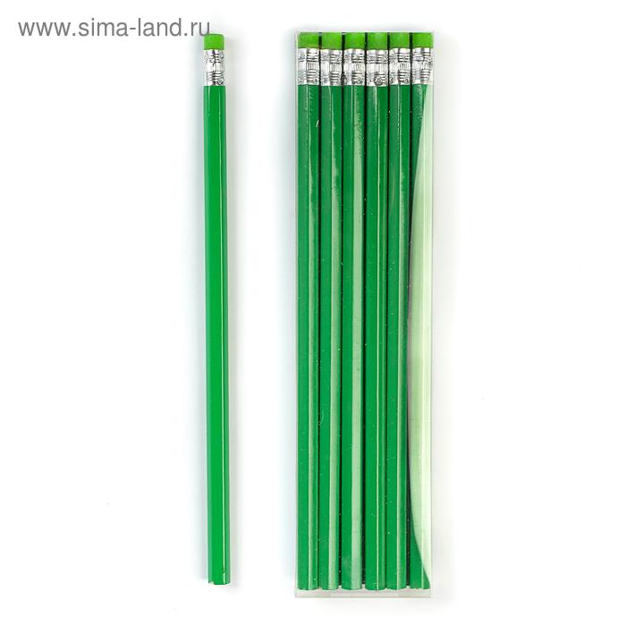 Карандаш чернографитный с ластиком, HB, корпус шестигранный, зелёный