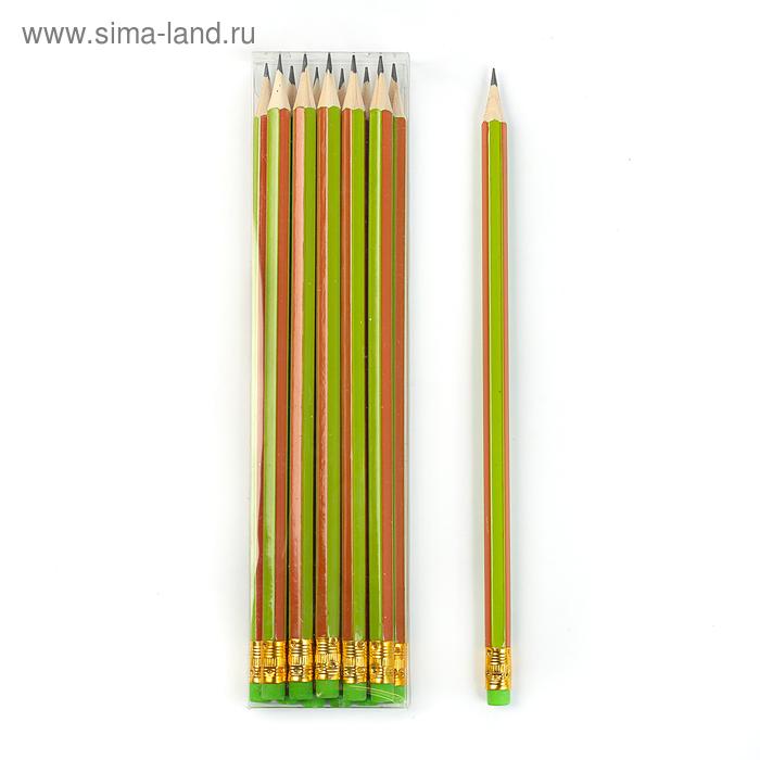 Карандаш ч/г с ластиком НВ корпус шестигранный Полоски зеленые с оранжевым