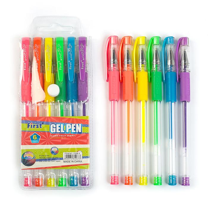 Набор гелевых ручек, 6 цветов, флуоресцентные, с резиновыми держателями, в блистере на кнопке