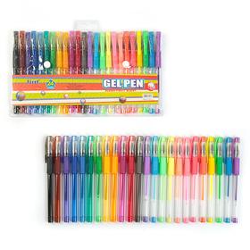 Набор гелевых ручек 24 цвета флуоресцентные, пастель, металлик с резиновыми держателями