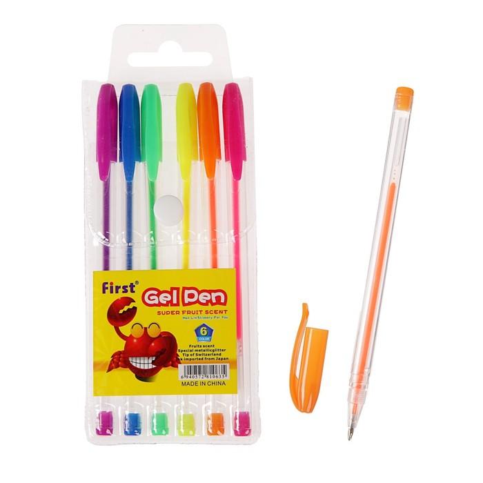 Набор гелевых ручек, 6 цветов, флуоресцентные, в блистере