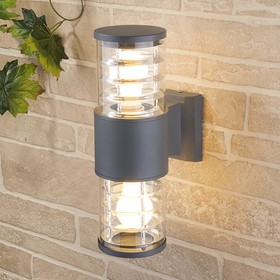 Светильник Elektrostandard садово-парковый, 2х60 Вт, E27, IP54, настенный, Techno 1407 серый
