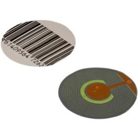 Этикетка радиочастотная 'Штрих-код', круглая, рулон 1000 шт Ош