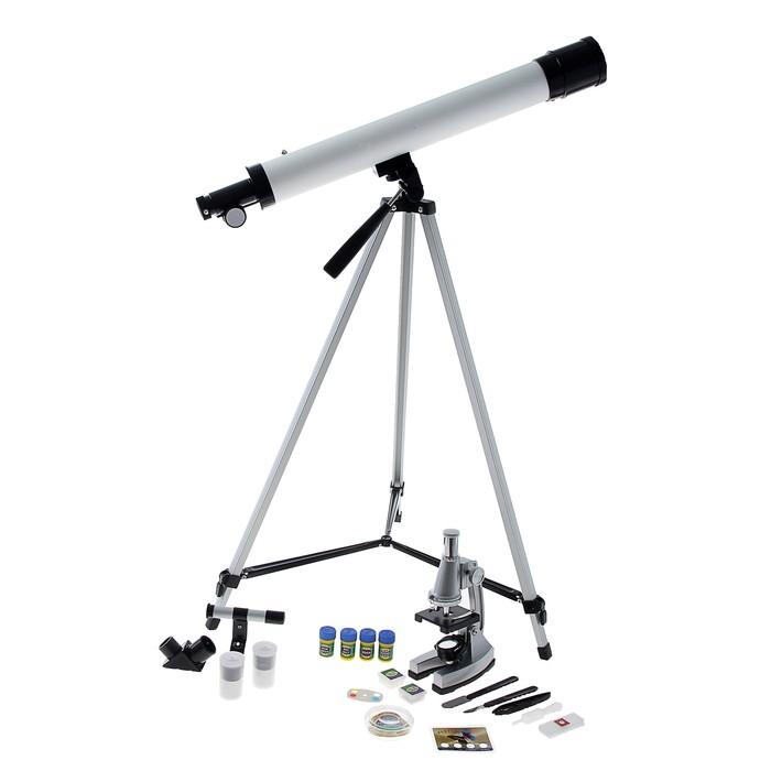 """Набор """"Юный натуралист супер"""": телескоп настольный, съемные линзы 20х-30х-40х, микроскоп"""