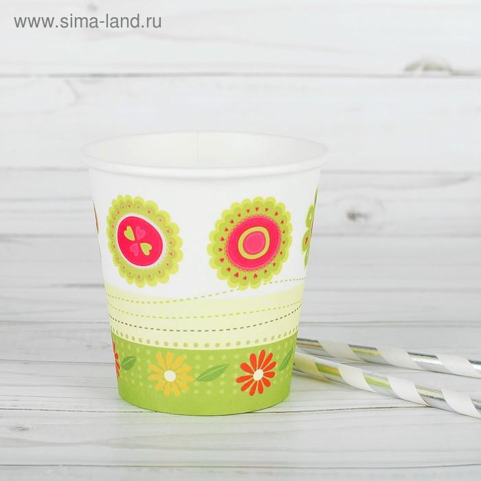 """Набор одноразовых стаканов """"Лужайка"""", 6 шт, 250 мл, 80 мм"""