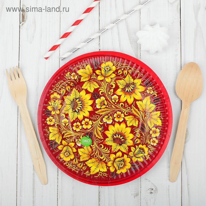 "Набор одноразовых тарелок ""Хохлома (красная)"", 6 шт, 18 см, ламинация"