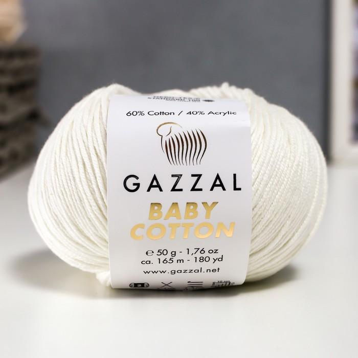 "Пряжа ""Baby Cotton"" 60% хлопок, 40% полиакрил 165м/50гр (3410 белый) - фото 8443127"