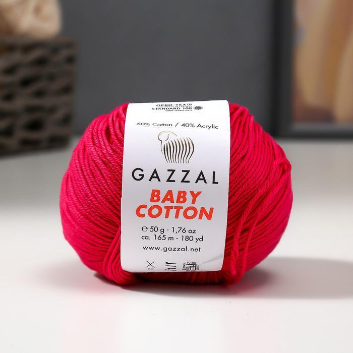"Пряжа ""Baby Cotton"" 60% хлопок, 40% полиакрил 165м/50гр (3415 розовый) - фото 8443133"