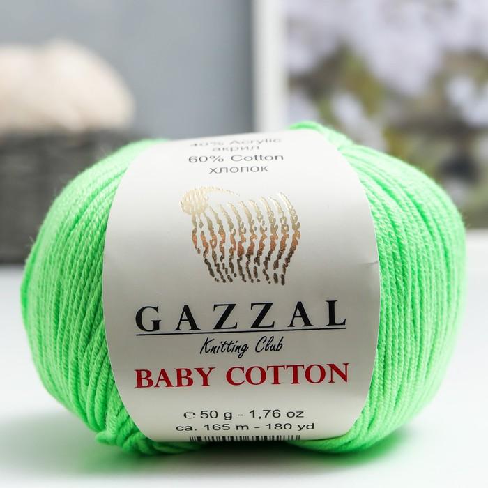 """Пряжа """"Baby Cotton"""" 60% хлопок, 40% акрил 165м/50гр (3427 неж. зелёный) - фото 8443161"""