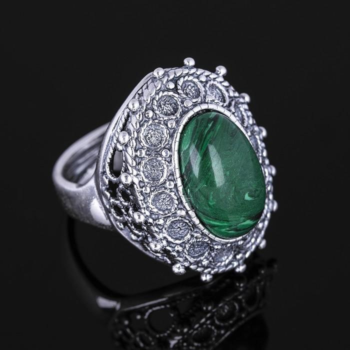 """Кольцо """"Маланья"""", размер 18, цвет зелёный в чернёном серебре"""