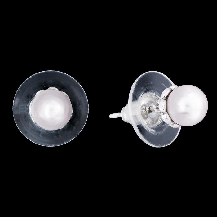 """Серьги """"Лимбе"""", цвет белый в чернёном серебре - фото 511091810"""