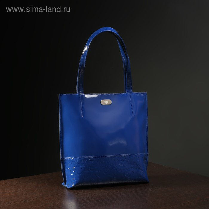 Сумка женская на молнии, 1 отдел, наружный карман, цвет синий гладкий шик/пионы шик