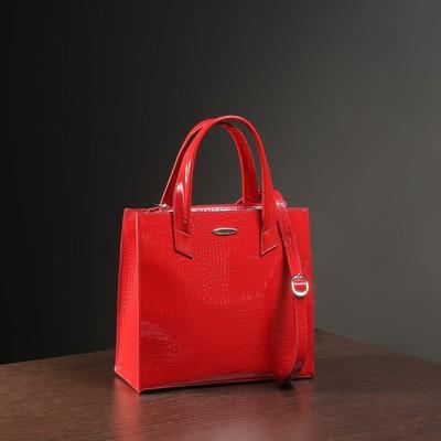 5cc30e1d011c Сумка женская на молнии, 2 отдела с перегородкой, наружный карман, цвет  красный