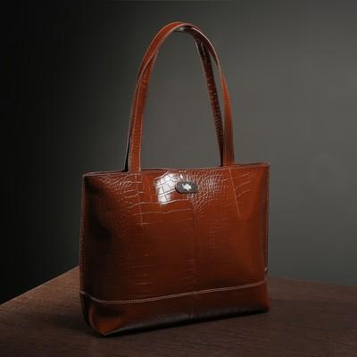Сумка женская на молнии, 1 отдел, наружный карман, цвет светло-коричневый