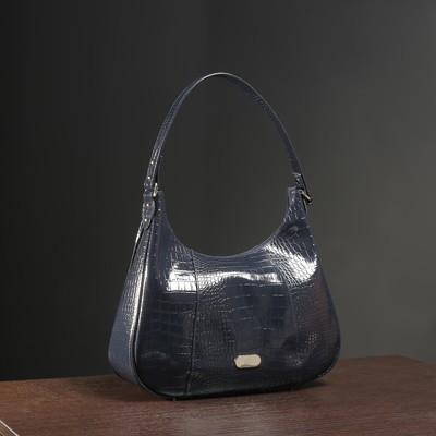 Сумка женская на молнии, отдел с перегородкой, 2 наружных кармана, цвет тёмно-синий кайман шик