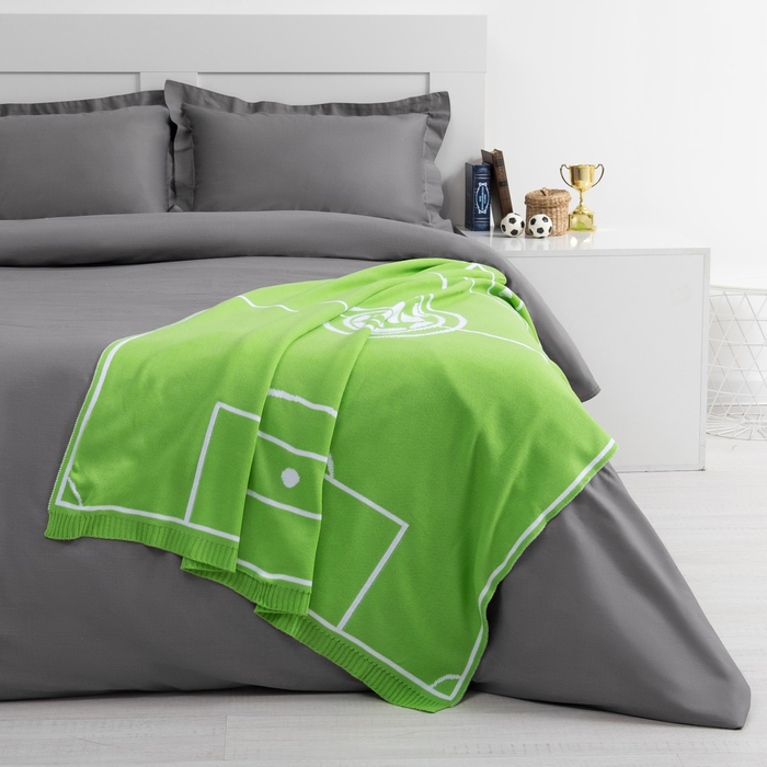 """Вязаный плед """"Этель"""" Поле (вид 2), размер 110х140 см, цвет зелёный"""
