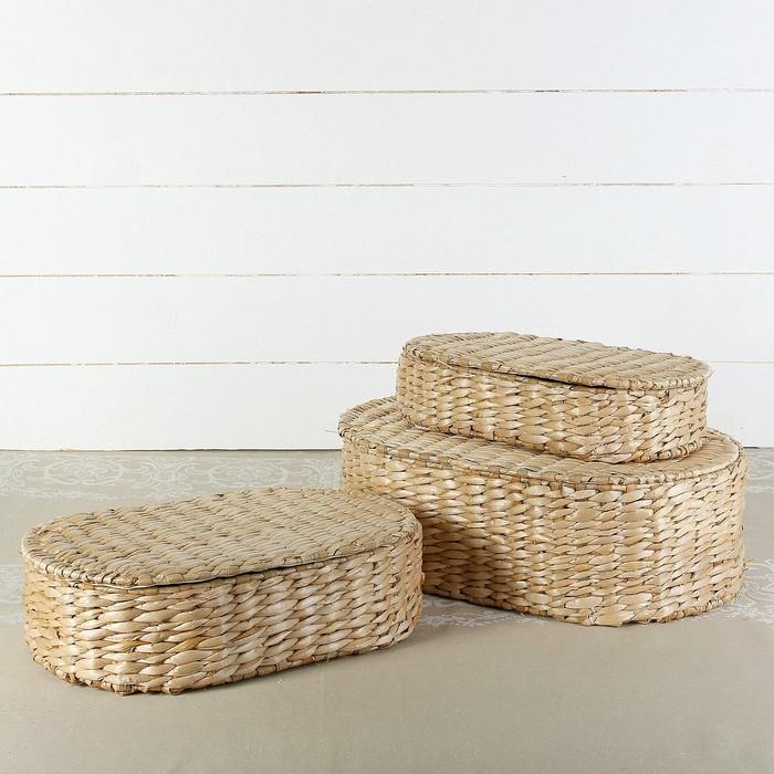 Набор коробок «Сундучок», овальные, 3 шт от 38×25×13 см, кукурузное волокно