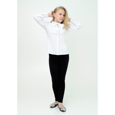 Блузка для девочки+бант, рост 146 см, цвет белый 2В17-3