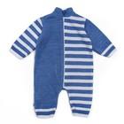 Комбинезон детский, рост 56-62, цвет голубой, принт полоска 1129_М