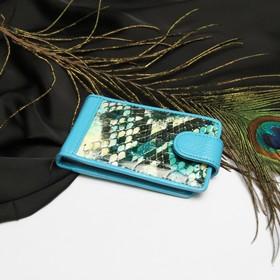 Визитница горизонтальная, 1 ряд, 24 листа, с хлястиком, змея, цвет бирюзовый Ош