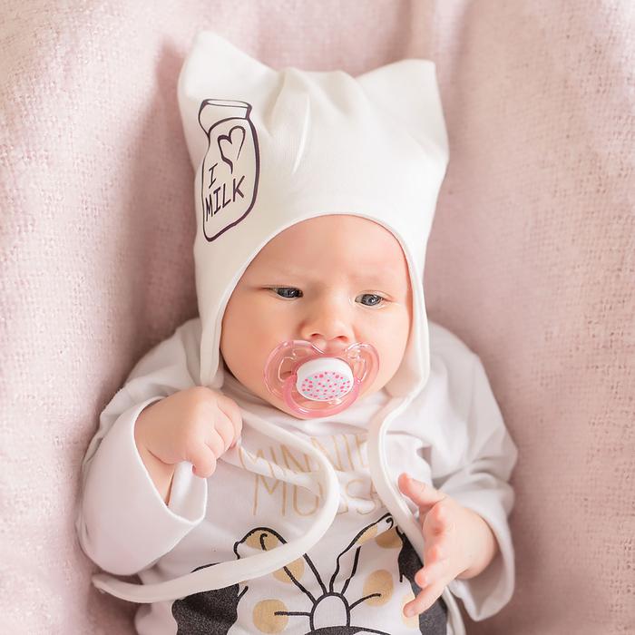 Шапка детская I love Milk, цвет молочный, размер 42-46 см - фото 1963582